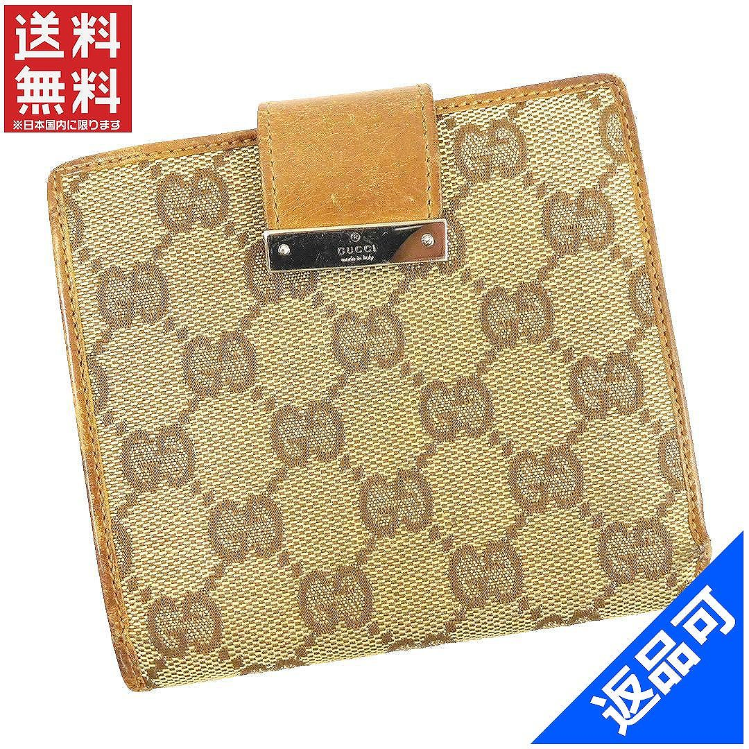グッチ 財布 レディース (メンズ可) 二つ折り財布 GUCCI GGキャンバス Wホック財布 即納 【中古】 X11669