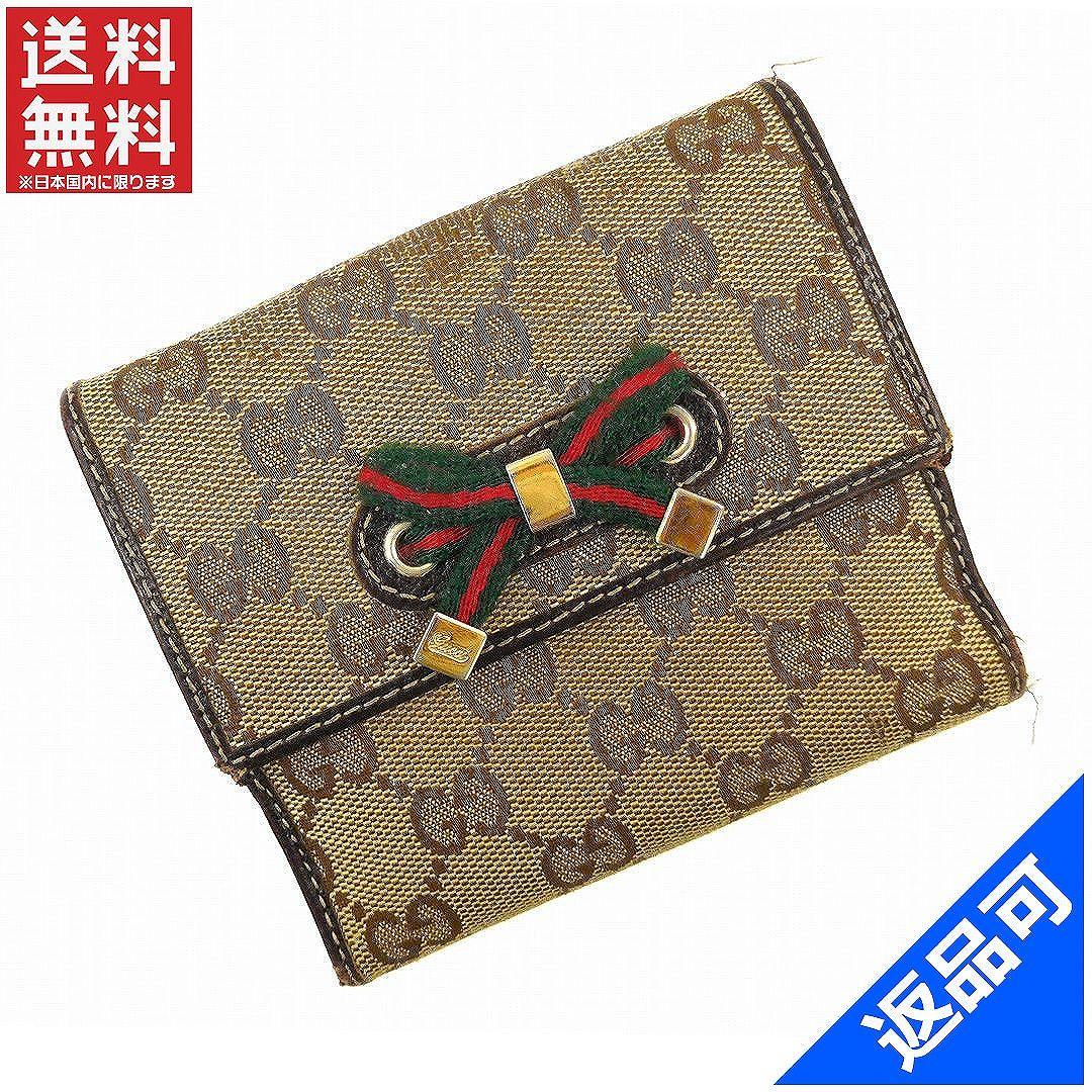 [閉店セール]グッチ GUCCI 財布 二つ折り財布 Wホック財布 プリンシー GGキャンバス 中古 X14408