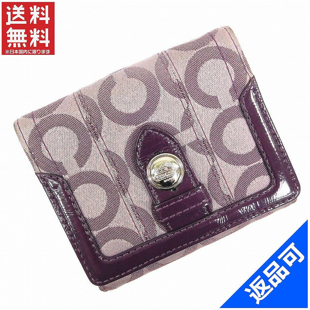 [閉店セール]コーチ COACH 財布 二つ折り財布 Wホック財布 オプアート 中古 X14764