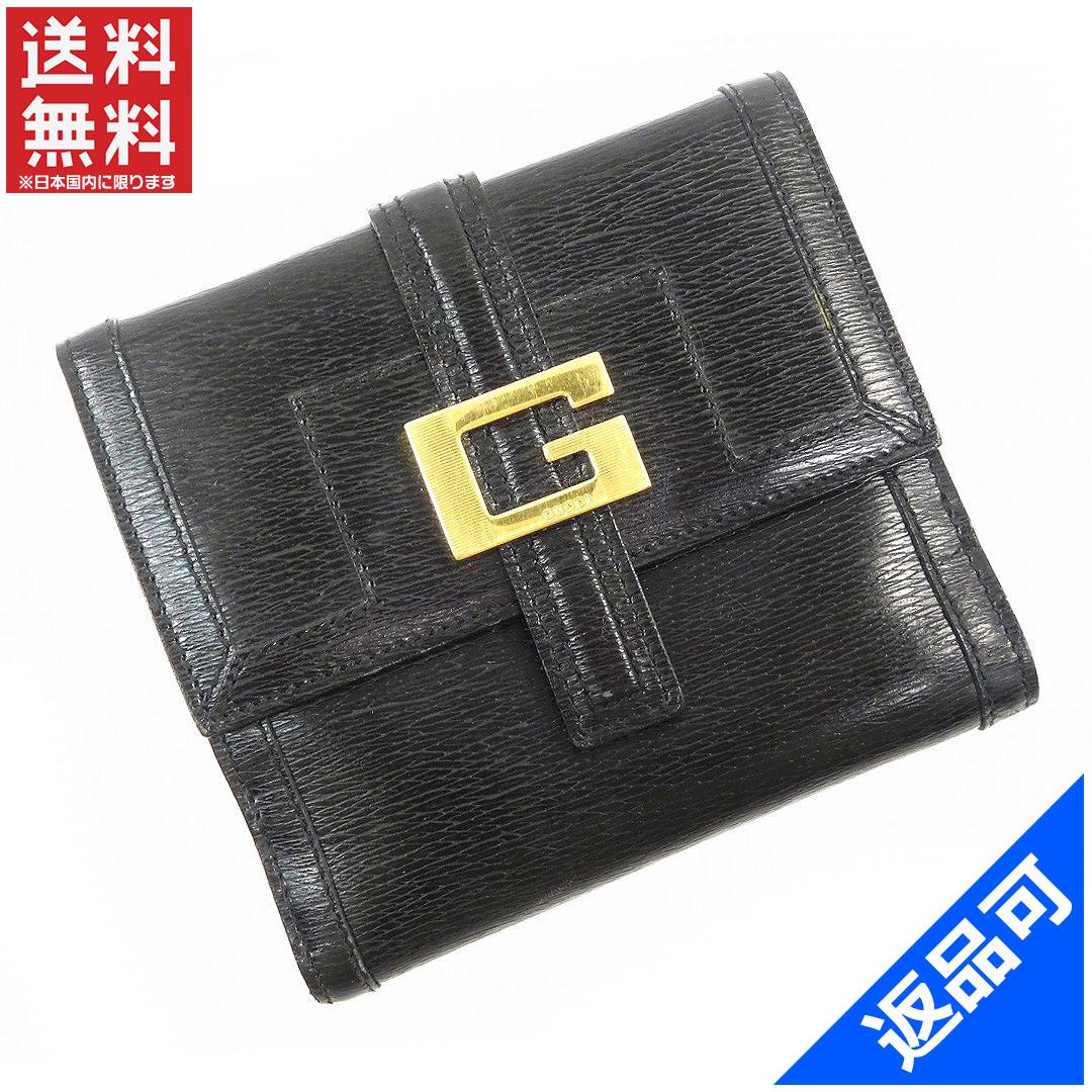 [半額セール]グッチ GUCCI 財布 二つ折り財布 ゴールド金具 中古 X14792
