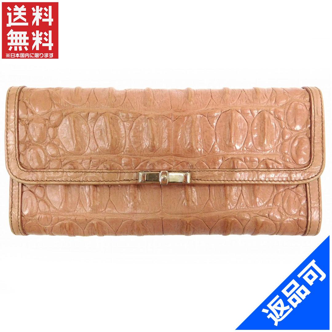 [閉店セール]ミュウミュウ miumiu 財布 長財布 二つ折り財布 クロコダイル型押し 中古 X15754