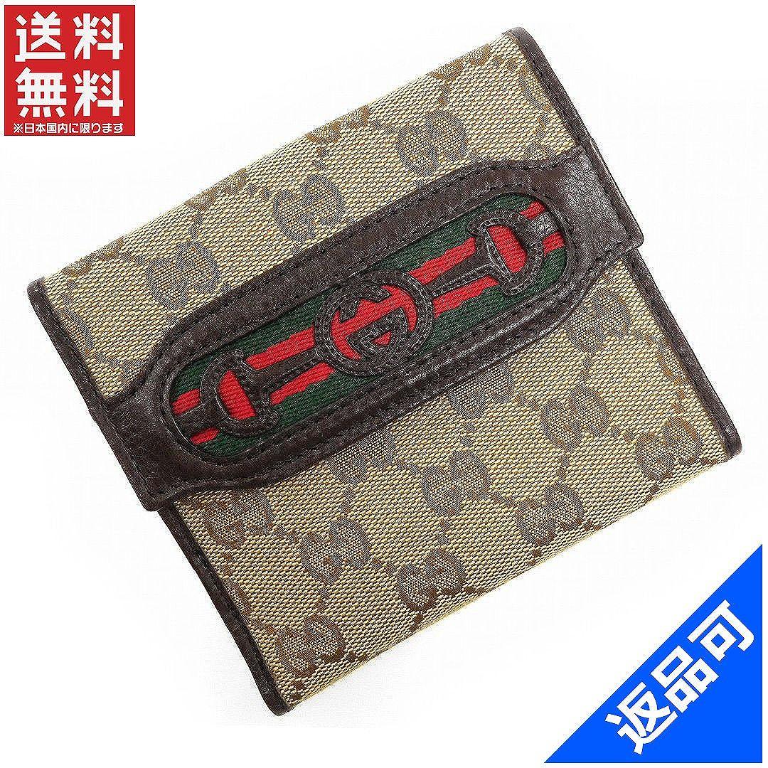 68505a3acdd5 グッチ 財布 レディース (メンズ可) 二つ折り財布 GUCCI シェリーライン GGキャンバス W