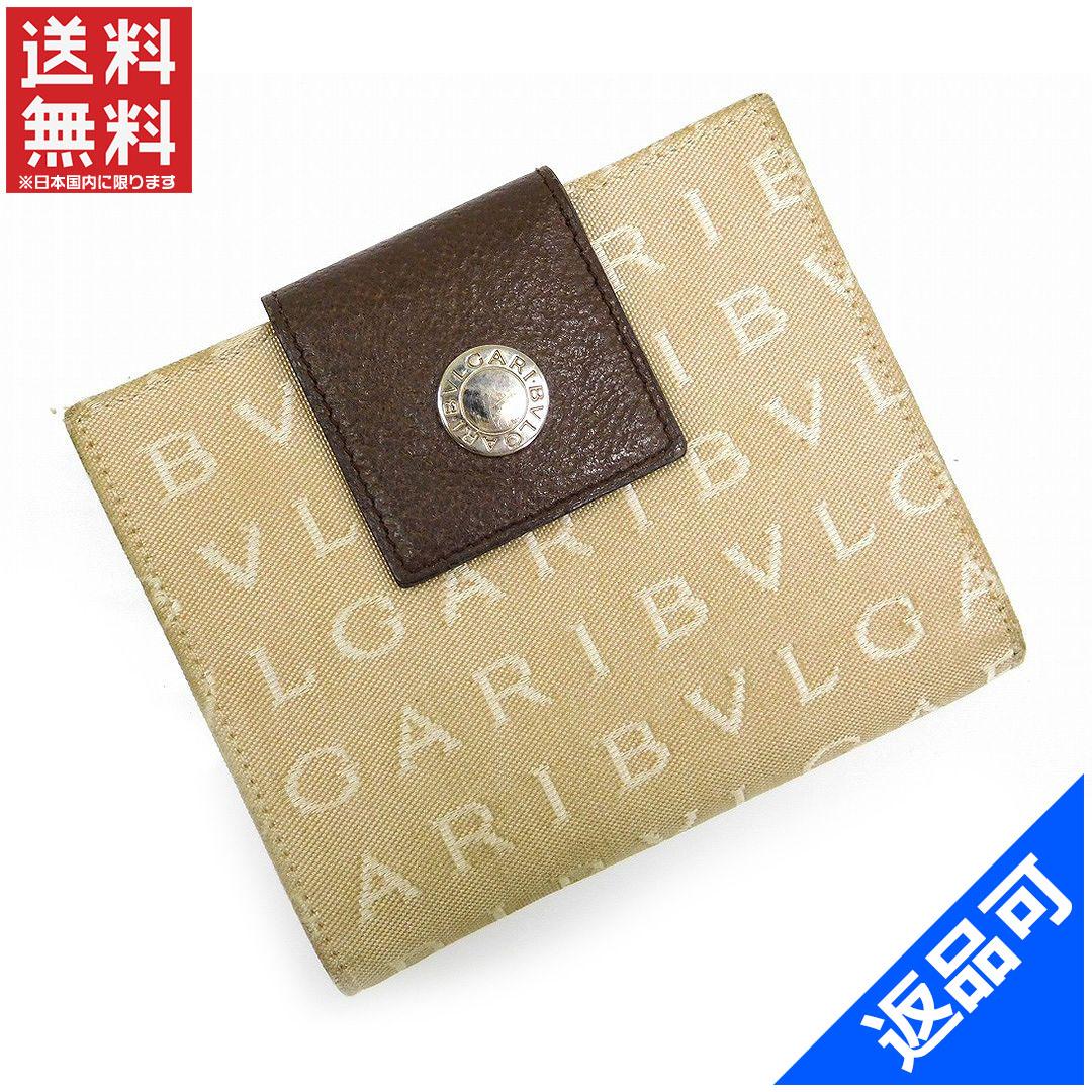ブルガリ 財布 レディース (メンズ可) 二つ折り財布 BVLGARI ロゴマニア Wホック財布 即納 【中古】 X16255