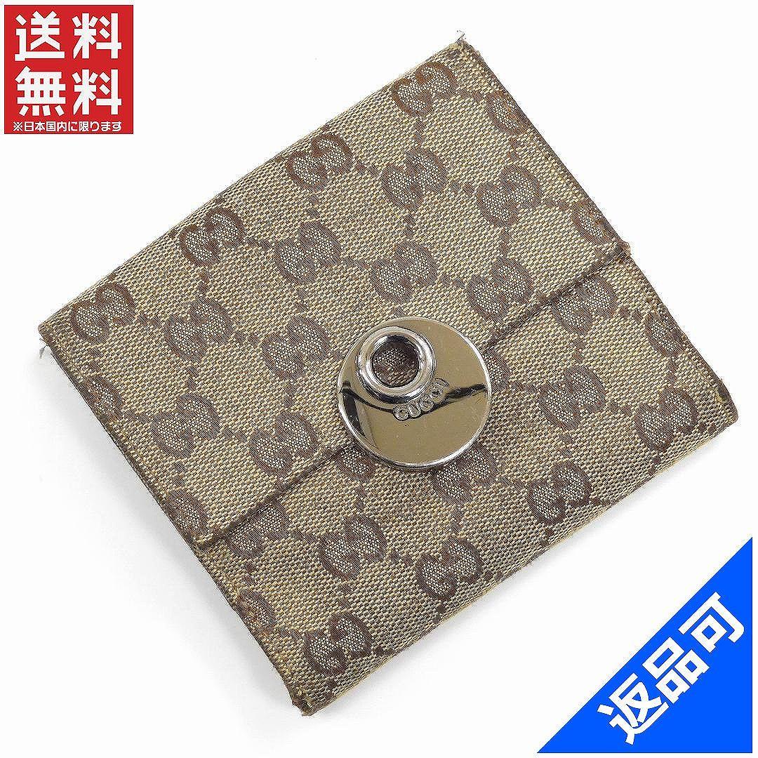 [閉店セール]グッチ GUCCI 財布 二つ折り財布 Wホック財布 GGキャンバス 中古 X16319