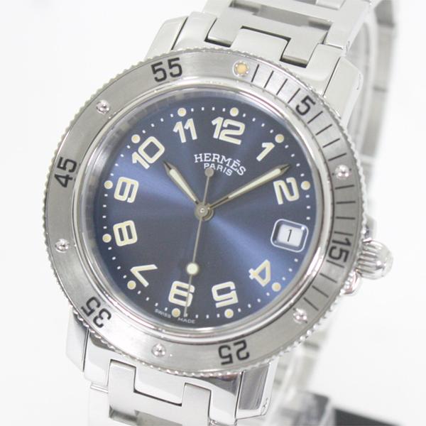 HERMES エルメス CL7.710 クリッパーダイバー SS デイト機能 紺文字盤 ボーイズ腕時計 クォーツ【中古】