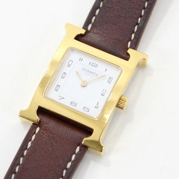 エルメス Hウォッチ HH1.210 SSx革 白文字盤 レディース腕時計 ベルトT刻印 ゴールドケース クォーツ HERMES【中古】