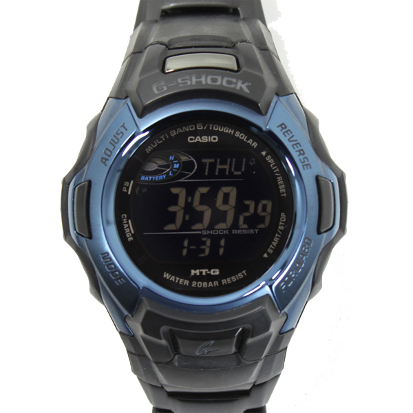 新品同様 CASIO G-SHOCK MTG-M900BD-2JF 世界6局対応電波ソーラ腕時計 MT-G カシオ ブルーxブラック【中古】