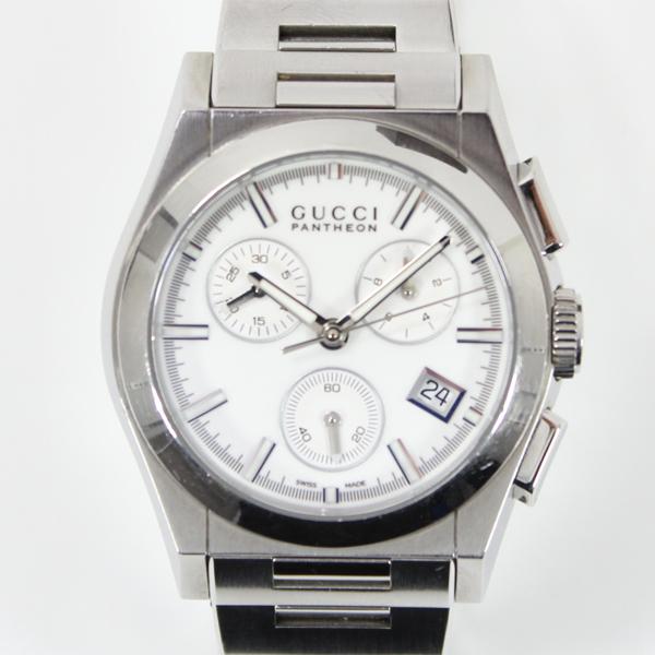 グッチ 腕時計 パンテオン ボーイズ メンズ レディース 白文字盤 クォーツ クロノグラフ 115.4 ステンレス SS【中古】