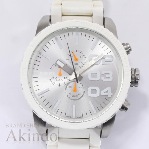 ディーゼル DIESEL DZ-4253 DZ4253 メンズ腕時計 ホワイトラバー ビッグフェイス クロノグラフ クォーツ【中古】