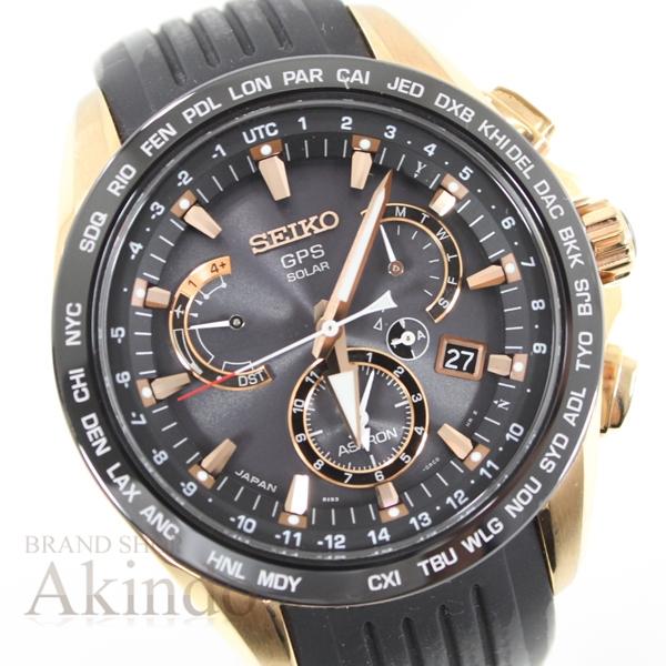 SEIKO セイコー アストロン モデル着用&注目アイテム GPSソーラー電波 SBXB055 8X53-0AC0 ウォッチ メンズ腕時計 お値打ち価格で 黒 中古 ブラック ゴールド