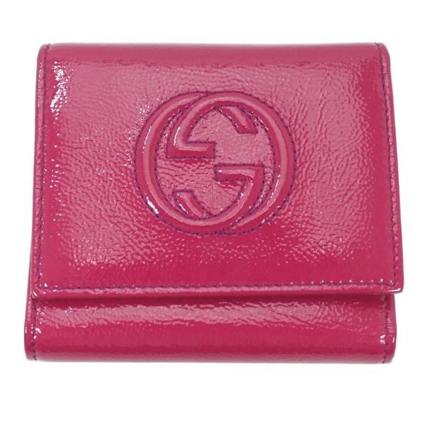 美品 GUCCI グッチ 三つ折財布 ソーホー パテントレザー 濃ピンク 351485【中古】