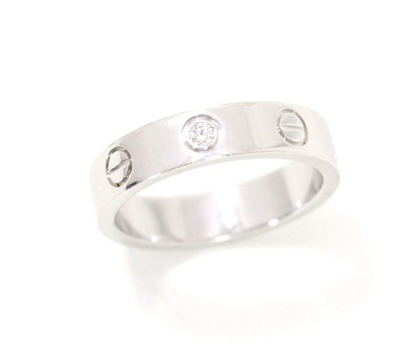Cartier カルティエ ミニラブリング 1Pダイヤモンド K18WG #47 レディース ウェディングリング 指輪【中古】