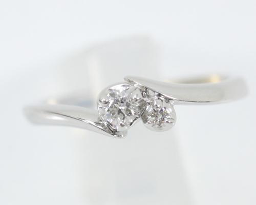 4℃ ダイヤモンドリング K18WG ピンキー #5 箱付き 【中古】