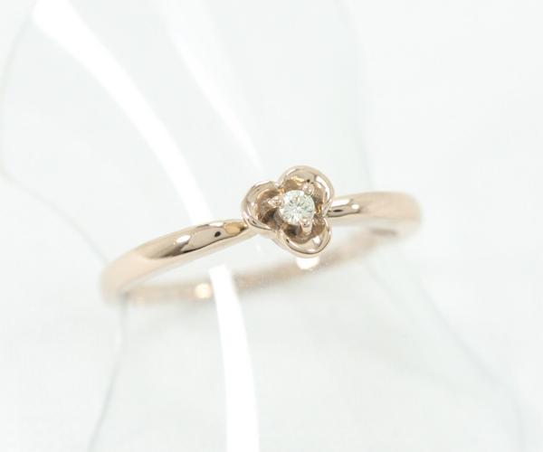 新同 研磨済み エステール K18PG リング ダイヤモンド #10 【中古】