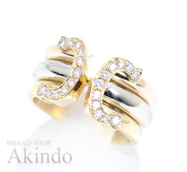 カルティエ 2Cリング スリーカラー ダイヤモンド K18YG・WG・PG リング K18(750) #47 8号 Cartier【中古】