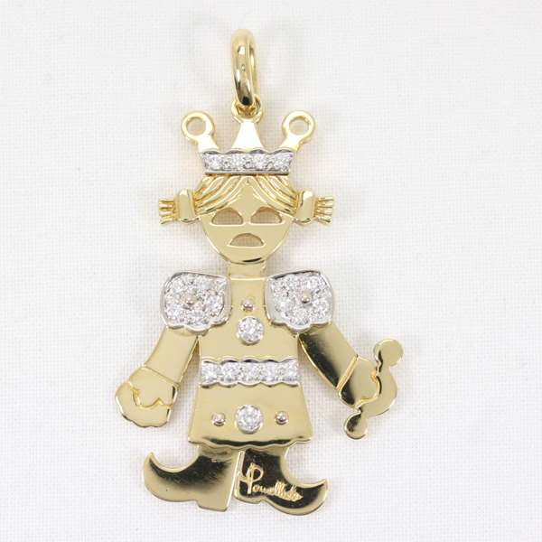 Pomellato ポメラート クイーン ダイヤモンド ラージサイズ ペンダントトップ K18YGxWG 【中古】