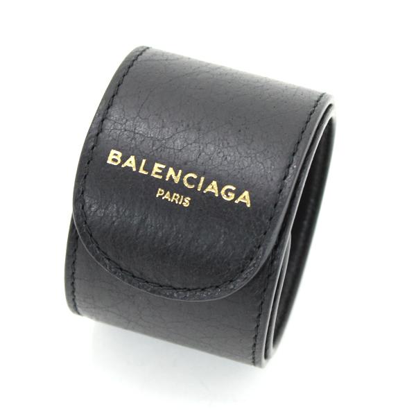 未使用 BALENCIAGE バレンシアガ サイクル ブレスレット バングル レザー 黒 483272 メンズ レディース おしゃれ【中古】