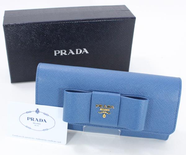未使用 PRADA プラダ サフィアーノ リボン付き二つ折り長財布 1MH132 青 ブルー(コバルト)レディース
