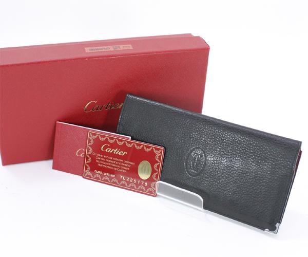Cartier カルティエ カボション インターナショナル ウォレット 二つ折り長財布 札入れ 黒 カーフレザー ブラック L3000583 メンズ【中古】