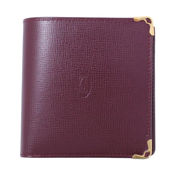 新品同様 Cartier カルティエ 二つ折り財布 マストライン カーフレザー ボルドー メンズ【中古】