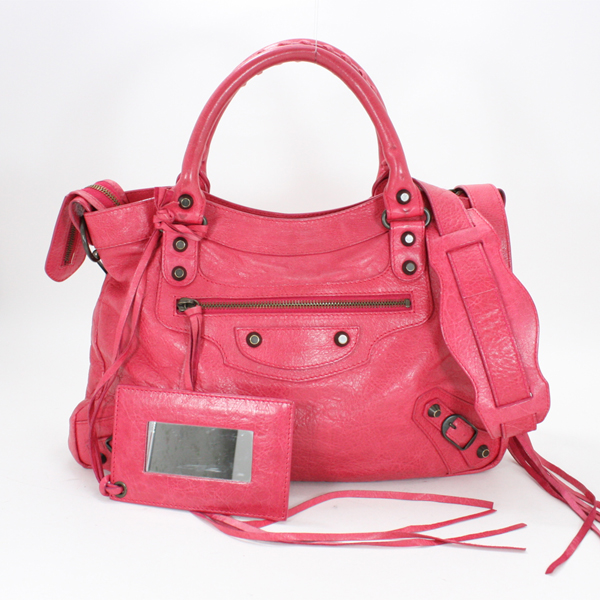 BALENCIAGA バレンシアガ ザ・タウン 2Way ショルダーバッグ ハンドバッグ 赤ピンク系 レザー シープスキン 斜めがけ ミラー付き 鏡 240579 レディース【中古】