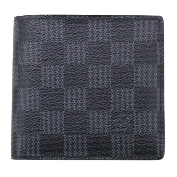 ルイヴィトン 二つ折り財布 グラフィット ポルトフォイユ・マルコ 黒 ブラック メンズ財布 N62664 美品【中古】