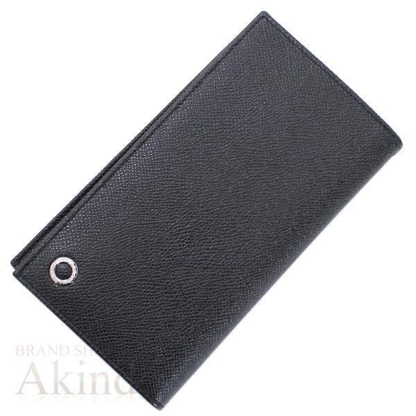 ブルガリブルガリ 二つ折り長財布 黒 ブラック メンズ グレインレザー ロゴ 未使用 30398【中古】