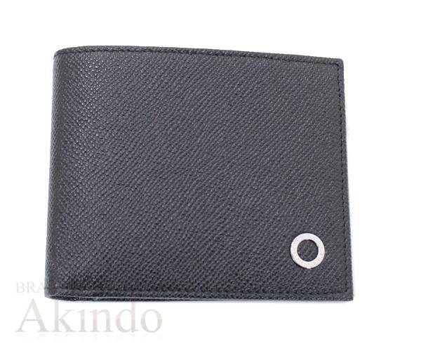 ブルガリブルガリ 二つ折り財布 札入れ 小銭入れなし 黒 ブラック メンズ グレインレザー ロゴ 未使用 38116【中古】