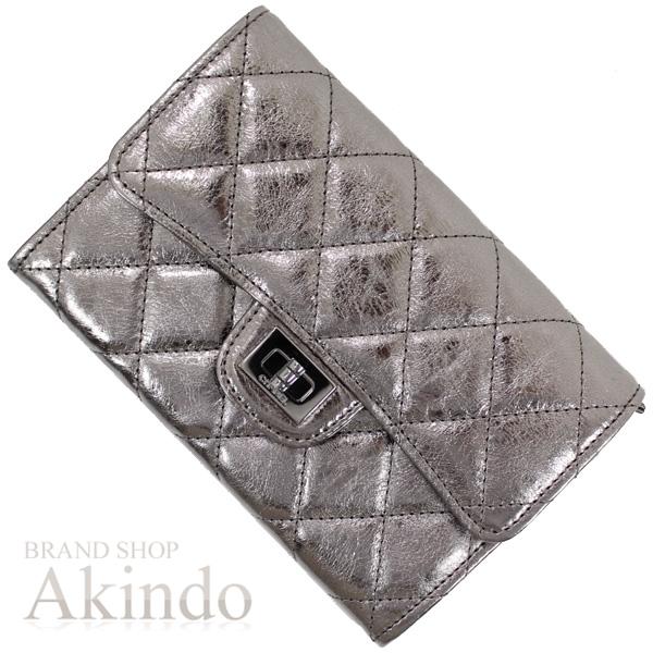 シャネル 2つ折り財布 2.55 メタリックグレー ブラックコーティング金具 未使用 箱・G レディース CHANEL【中古】