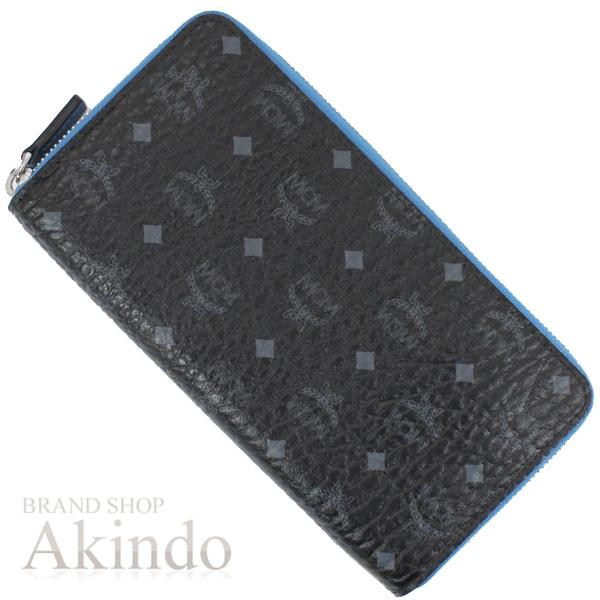 MCM 財布 ラウンドファスナー 長財布 ブラック ブルー 黒 青 ジップ式 メンズ MYL6AVC80 未使用 エムシーエム