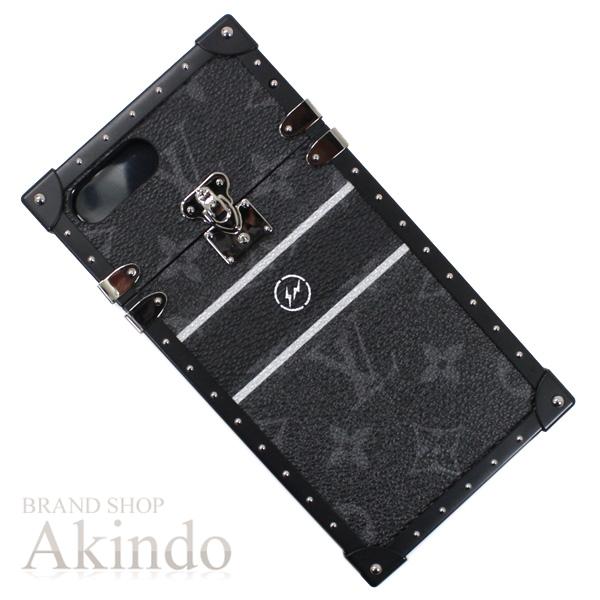 ルイヴィトン iPhone7+&8+ 6+も可能 アイトランクplus 藤原ヒロシ モノグラム・エクリプス フラグメント コラボモデル 黒 ブラック アイフォンケース M62612 メンズ 限定 新品未使用【中古】
