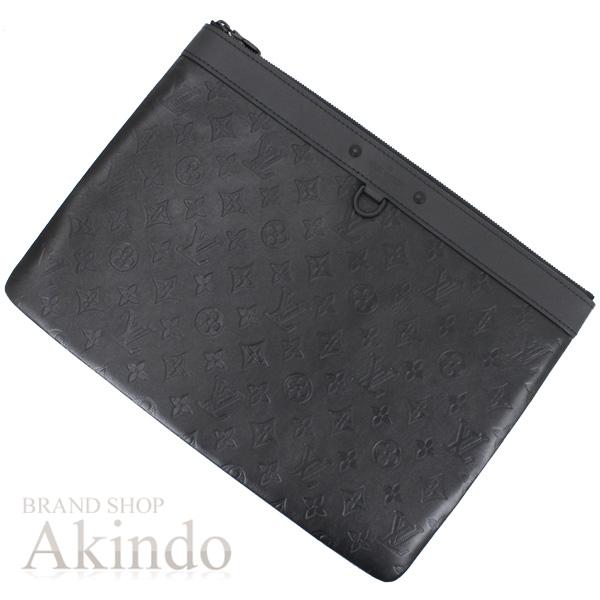 ルイヴィトン クラッチバッグ ポシェットディスカバリー モノグラム・シャドウ レザー 黒 ブラック ポーチ メンズ M62903 未使用