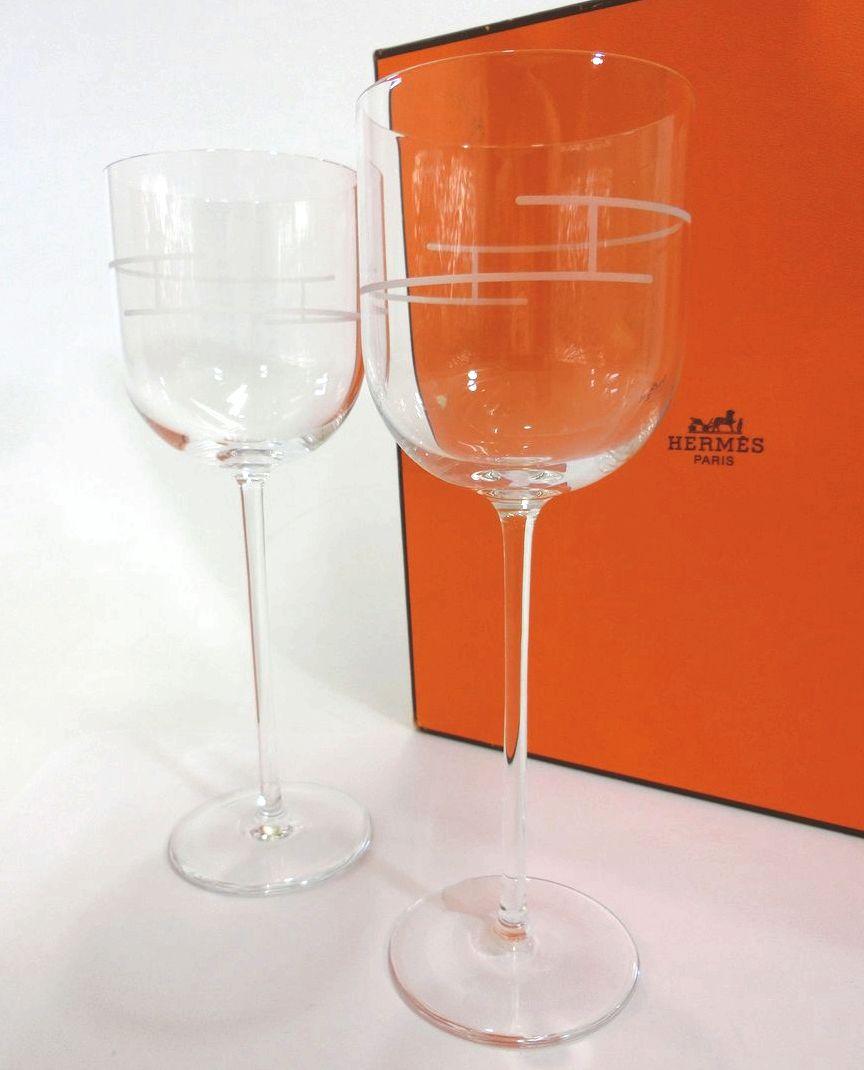 HERMES・エルメス RHYTHM/リズムシリーズ ワイングラス ペアセット クリスタル ブランド食器 未使用品 18-C051