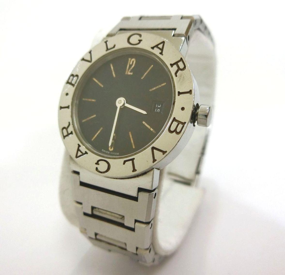 BVLGARI・ブルガリ ブルガリ クォーツ腕時計 BB 26 SS レディース メタルベルト 黒文字盤 廃盤 特価品 中古 19-4098
