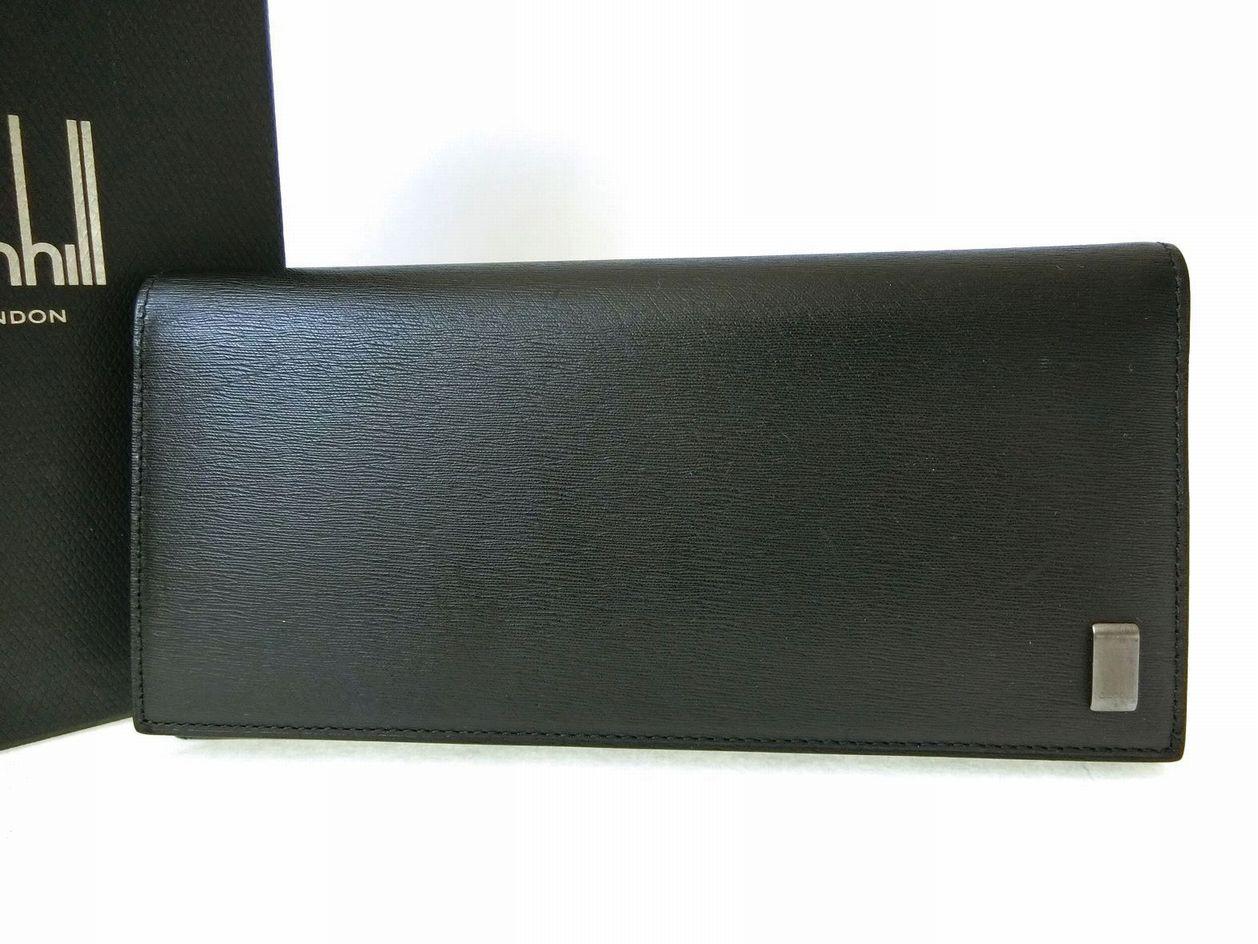 dunhill・ダンヒル 本革レザー長財布 ビルウォレット レザー長財布 L2RF10A 小銭入れ付き ブラック 黒 高級 ロングウォレット 収納多数 メンズ小物 ブランド 極美品 中古 19-6070