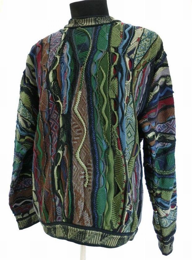 COOGI・クージー コットンニット セーター Mサイズ 立体編み ハンドメイド オーストラリア製 90'sヴィンテージ メンズ ブランド 美品 中古 I071