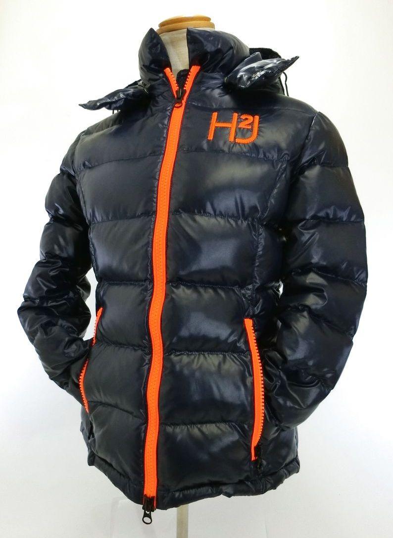 HYDROGEN・ハイドロゲン H2Jロゴ ダウンジャケット レディース XSサイズ 濃紺/ネイビー 軽い ブランド おしゃれ 特価品 中古 送料無料 18-B034