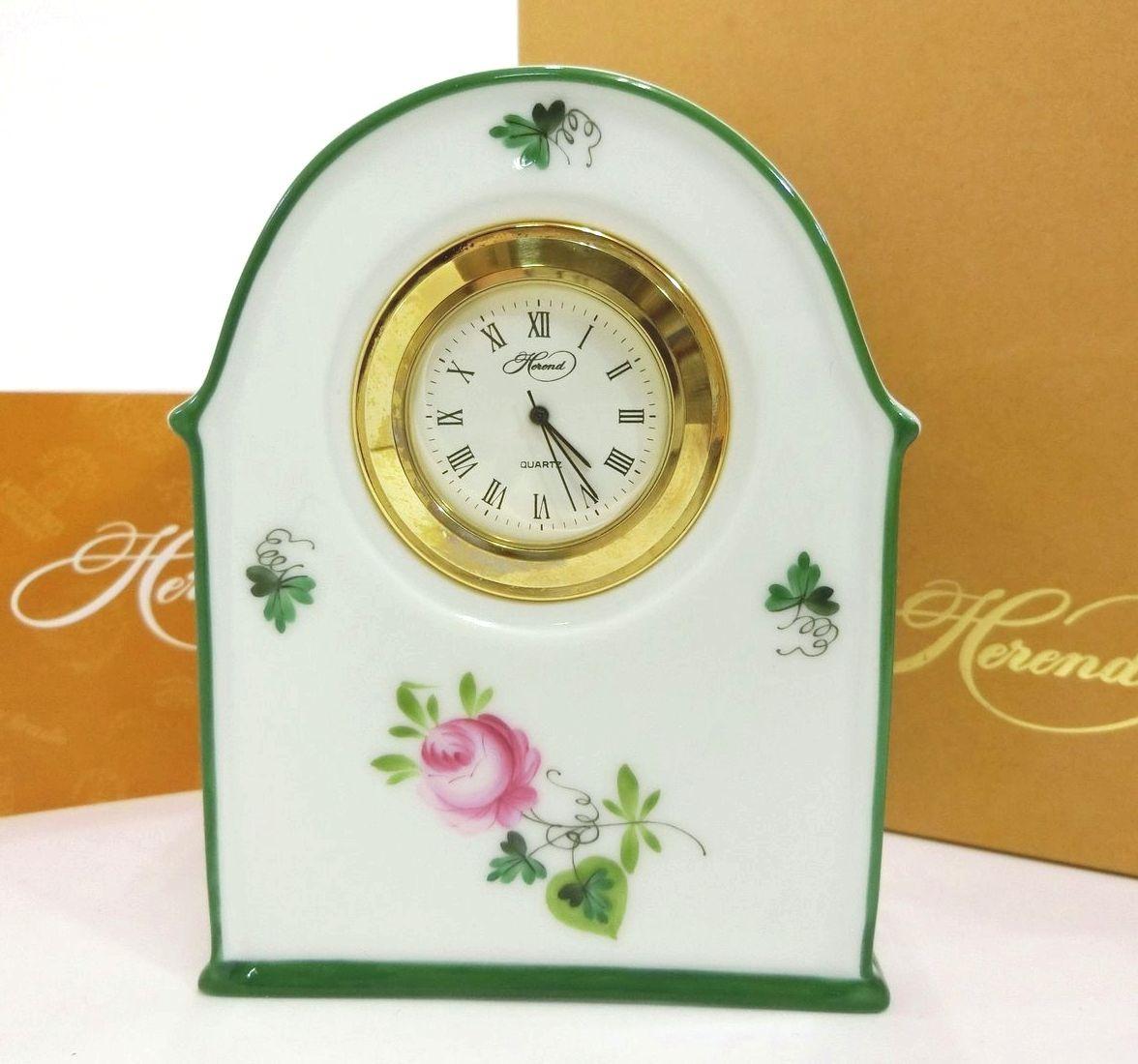 HEREND・ヘレンド ウィーンの薔薇 置時計 インテリア置物 スタンド式 動作確認・電池交換済み 未使用品 ブランド 12076