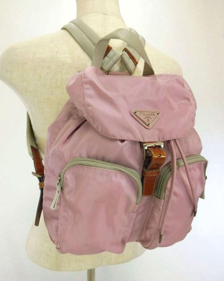 PRADA・プラダ ナイロンリュック バックパック B5885 LILLA/薄ピンク紫 レディースバッグ ブランド 特価品 中古 15-1068