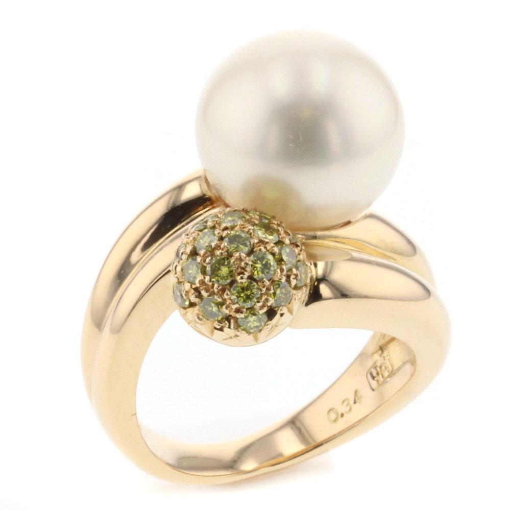 タサキ リング 指輪 K18イエローゴールド パール ダイヤモンド0.34ct 8号 レディース TASAKI 【中古】R71021014 【PD3】