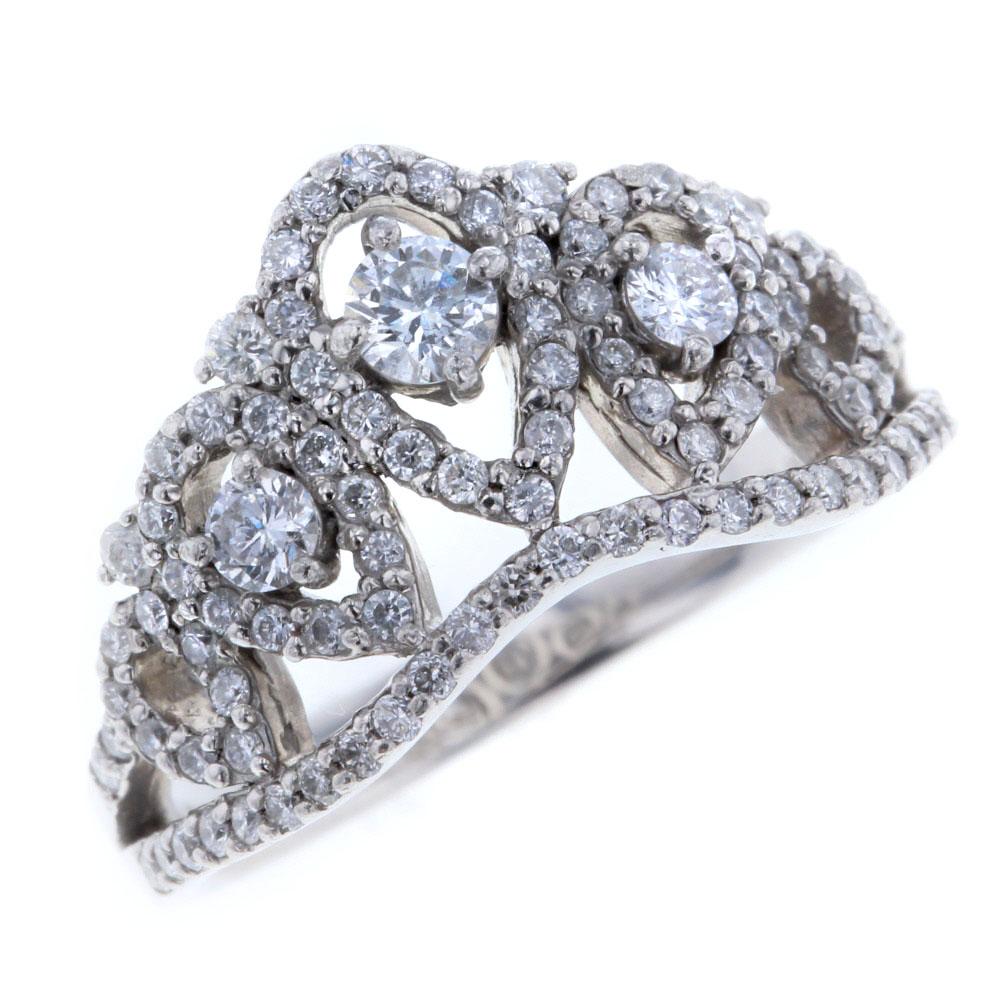 ティアラ モチーフ リング 指輪 13号 プラチナPT900 ダイヤモンド 0.73ct レディース【中古】K80202208 【PD2】, 倶知安町:b3efc91e --- ikorea.jp