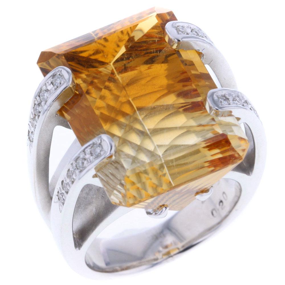バイカラー リング 指輪 トルマリン 20.91ct ダイヤモンド 0.2ct K18 ホワイトゴールド 13号 レディース 【中古】R80412052 【PD3】
