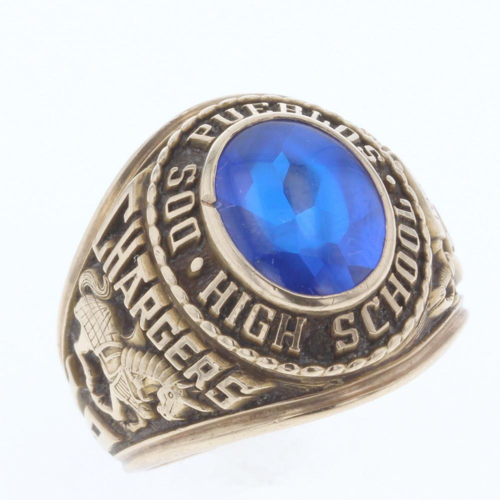 ブルーストーン DOS PUEBLOS HIGH リング・指輪 カレッジ アンティーク 1966年 ジャスティンズ K10イエローゴールド 17号 ゴールド メンズ 【中古】R80420003 【PD3】