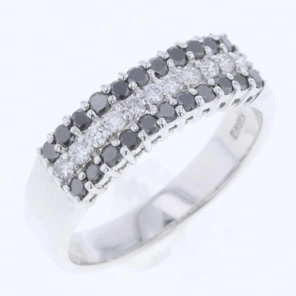 緊急値下げ!リング 指輪 ブラックダイヤ 0.40ct ダイヤモンド 0.20ct K18 ホワイトゴールド 14号 レディース 【中古】K80131195 【PD3】