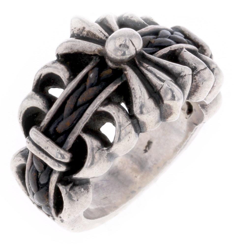フローラル クロス リング 指輪 17.5号 シルバー925 メンズ【中古】R80126041 【PD3】