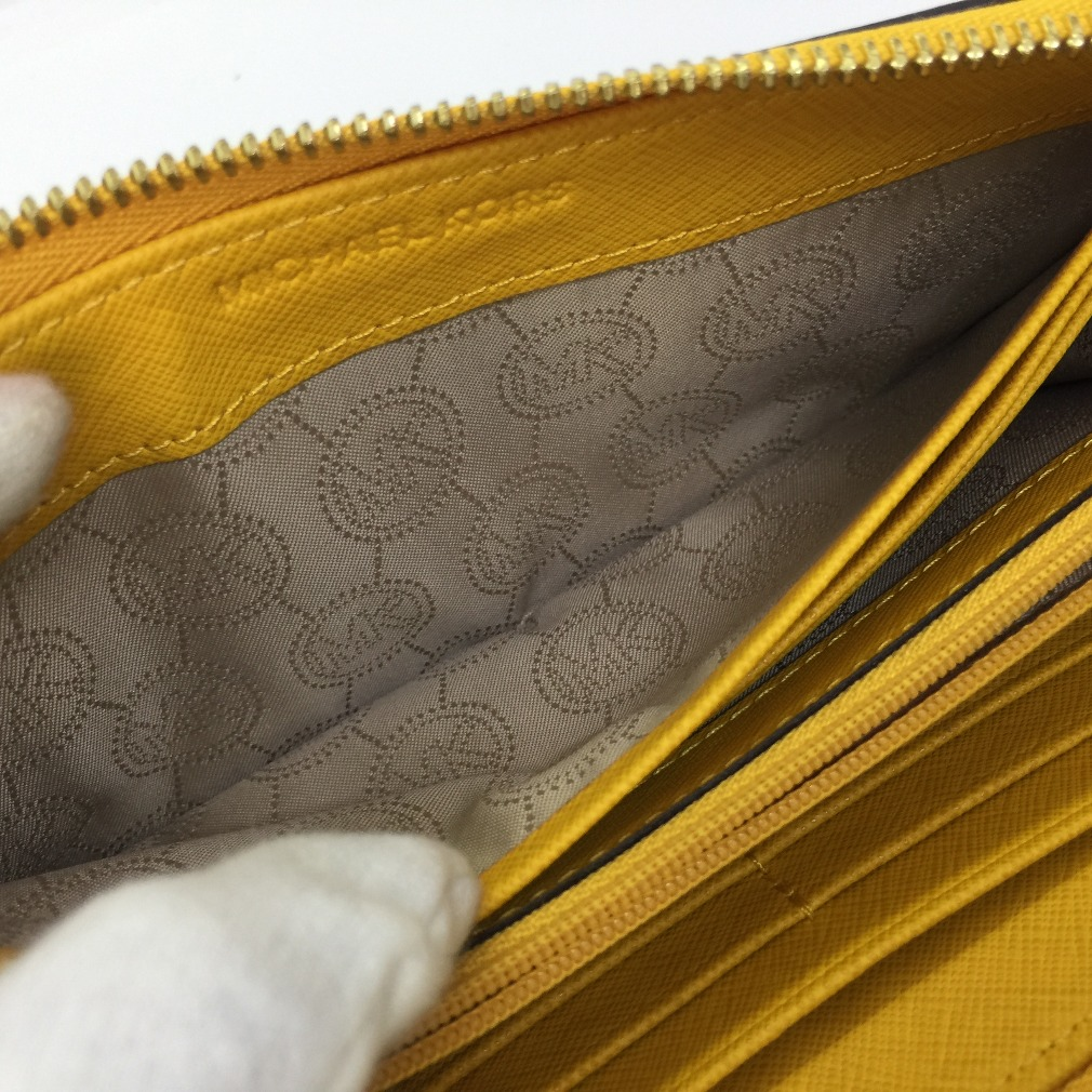 687db9e0dc5a ... Michael Kors long wallet round fastener 32H4GTVE3T leather yellow brown  Lady's Michael KorsK71201933