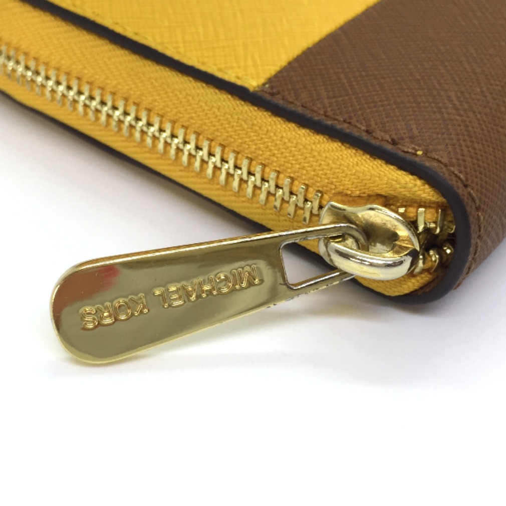 2f3211a5dace ... Michael Kors long wallet round fastener 32H4GTVE3T leather yellow brown  Lady's Michael KorsK71201933 ...