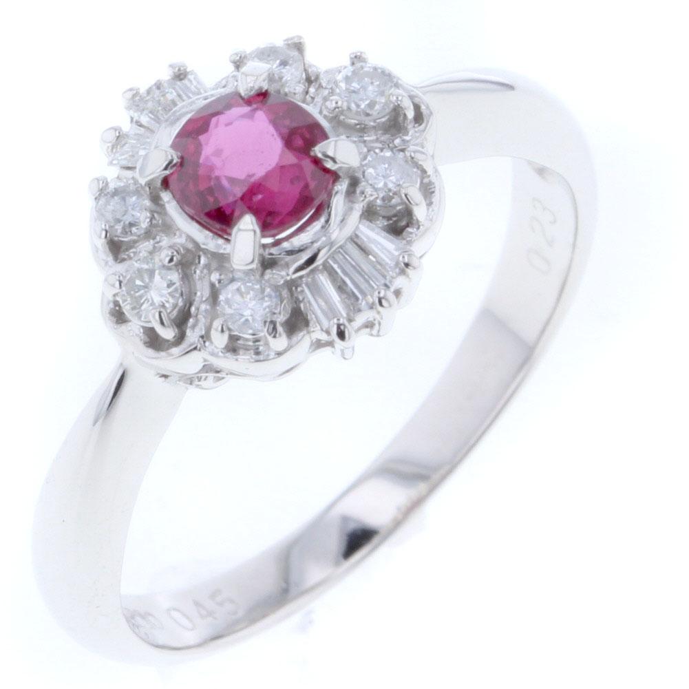 デザイン リング・指輪 NO,52 プラチナ900/ルビー0.45ct 1P/ダイヤモンド 0.23ct 12.5号 レディース 【中古】K80210231 【PD3】