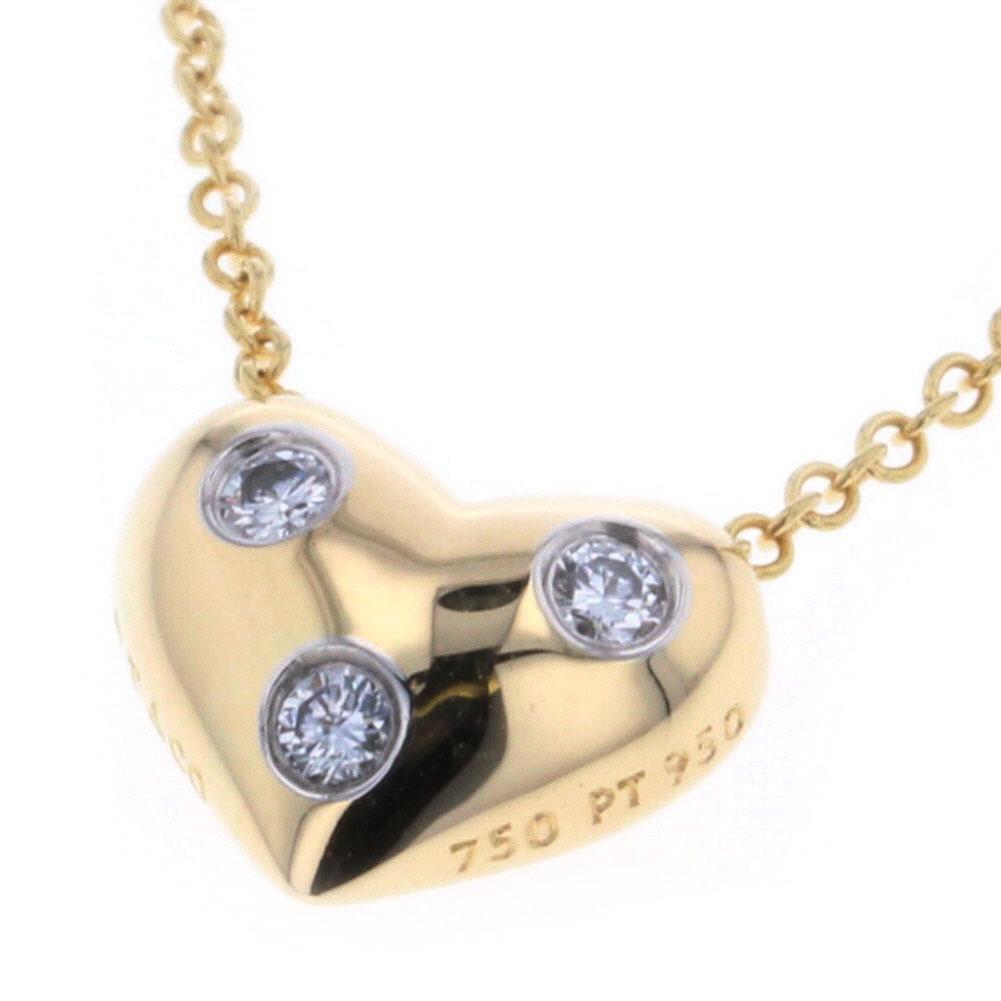 ティファニー ドッツ ハート ダイヤモンド 3P ネックレス K18 イエローゴールド PT950 レディース TIFFANY&Co. 【中古】K80513634 【PD3】