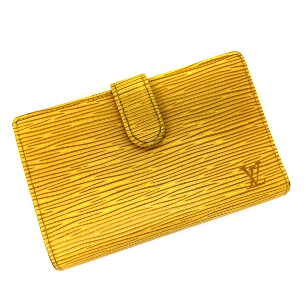 ルイヴィトン エピレザー 二つ折り財布 M63249 イエロー レディース LOUIS VUITTON 【中古】 K80619005 【PD3】
